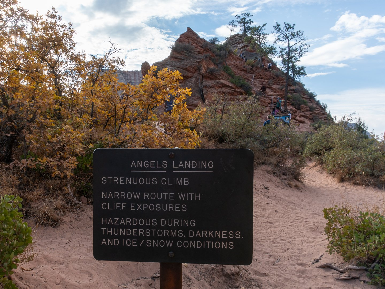 Angels Landing Hike Sign